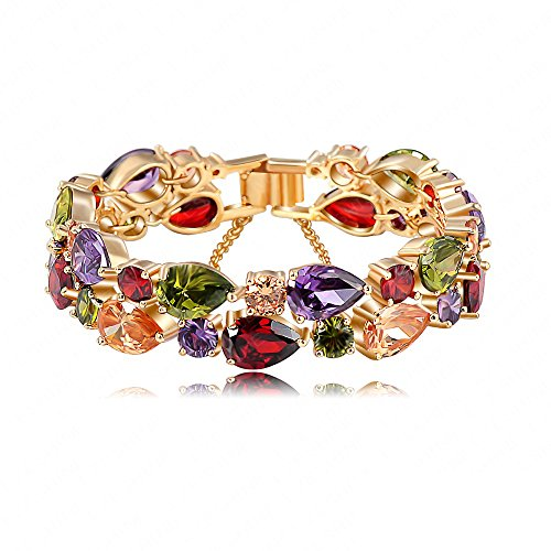 AnaZoz Schmuck Armschmuck 19cm Bunte Zircon Armband 18k Gold / Rose Gold Platte Frauen Armband Modeschmuck