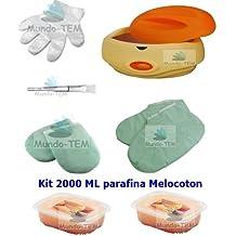 Mundo-TEM ® Calentador Fundidor de parafina + Kit Completo, 2000 ML Parafina Melocoton, Regalo: Manual breve para el Tratamiento de Parafina.