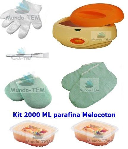 Mundo de tem Set complet pour bain de paraffine, 2000 ml paraffine mcoco, avec instructions (peut-être pas en langue allemande) et thermomètre numérique