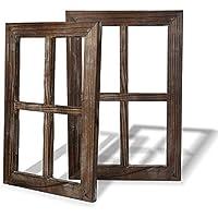 BESTOOL Viejo marco rústico de la ventana Barnwood - decoración para el hogar o al aire libre, no para los cuadros (2, 11X15.8 pulgadas)