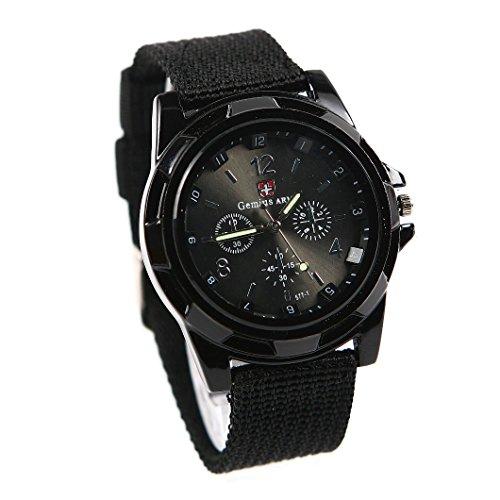 gemius army Mode Sport Stil Militaer- Armee Pilot Stoff Band Mann Armbanduhr Uhr schwarz