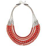 D übertreffen Geschenkidee Modische mehrlagig rot coral Farbe fünfreihiges rund Lätzchen Bead Halskette für Frauen 50,8cm