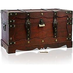 Cofre pirata con candado, hecha a mano, 50 x 25 x 28 cm.