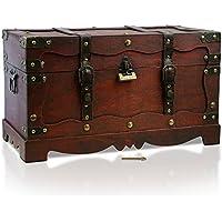 Caja de madera con candado de THUNDERDOG | Cofre del tesoro pirata de estilo vintage | Hecha a mano | Diseño retro | (New York tejido 50x25x28cm)