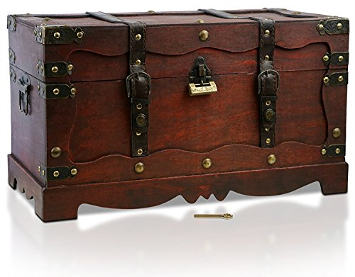 Brynnberg scrigno del tesoro con lucchetto vintage bauletto stile antico per accessori gioielli oggetti di valore, cassaforte in legno, idea regalo decorativa 50x25x28cm