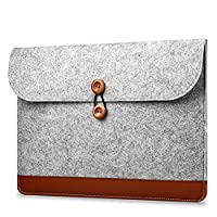 KimTime Envelope Style Stitching Laptop Computer Felt Bag Lightweight Shockproof iPad Liner Bag Protective Sleeve Macbook Air Pro 12 Inch (Light Grey)