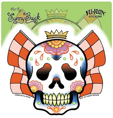 Sunny Buick - Racing Sweats Sugar Skull autocollant Sticker - 4 1/2