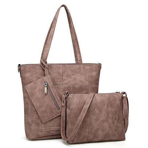 Preisvergleich Produktbild yyu Koreanisch Große Kapazität Fototasche Damen Handtaschen Schultertaschen Damen Geldbörsen Messenge Taschen Aktentaschen Mädchen Tägliche Taschen 32 * 31cm 25 * 20cm,Brown-OneSize