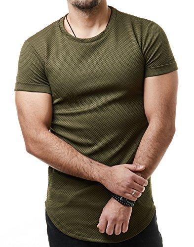 EightyFive Herren T-Shirt Regular Basic Gesteppt Gerippt Schwarz Khaki EF1021 Khaki