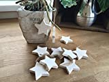 Set 10 Christmas Tree Decorations Hanging White Wooden Stars