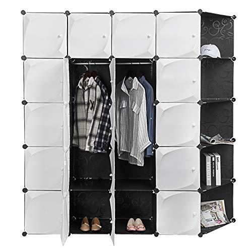 EUGAD super groß Kleiderschrank Garderobenschrank Bücherregal Steckregalsystem Schuhregal DIY Regal mit 4 Kleiderstange