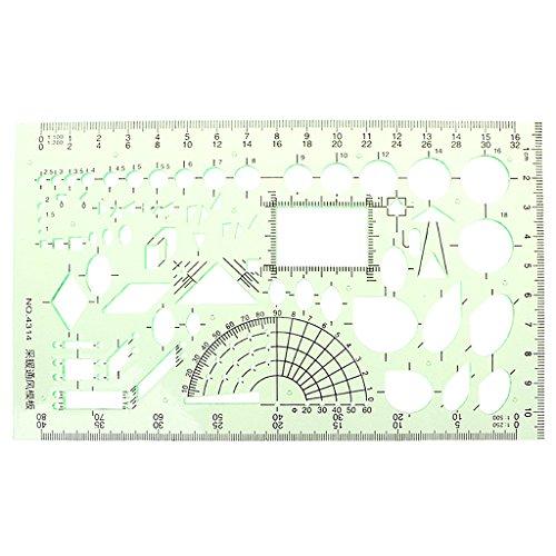 Wanfor Rechteck Kreis Form geometrische Zeichnung Werkzeug Vorlage Lineal Student Schreibwaren, Schule Produkt Werkzeug