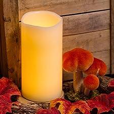 Vela cilindro de cera, h. 20 cm, a pilas, LED luz cálida, efecto llama, luces a pilas, luces de Navidad, velas LED