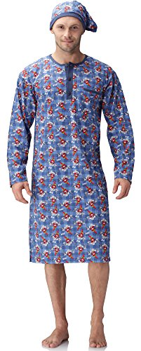 cornette-herren-nachthemd-mit-schlafmutze-110v2016-blaucowboy-chili-l
