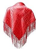 Seidentuch Dirndl-Trachtentuch Tuch hell-rot 75x75cm Dirndltuch Seide Fransentuch für Tracht Trachtenseidentuch hellrot mit Fransen Schultertuch Halstuch rot silk clouth hochwertigste Qualität!