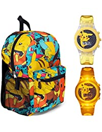 "FAB Pokemon 16"" Multi Print Backpack With Pikachu Light Up Watch - Kids"