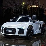 Toyas Audi R8 Spyder XL Ausführung Kinder Elektro Auto Sportwagen Cabriot Kinderfahrzeug 12V Weiß von Toyas