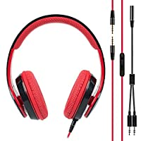 BAKTH Stereo Gaming Headphone Headset with Microphone for Smartphones Tablets and PC - Black and Red[18-Month-Warranty]