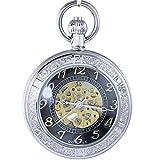 Ogle impermeable Lupa Esqueleto Colgante Collar Cadena plata negro Fob Self bobinado automático mecánico reloj de bolsillo