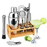 Hossejoy - Set per Cocktail in Acciaio Inox, 14 Pezzi, con Supporto in bambù, misurino e Cucchiaio da Bar, 550 ml, Set Regalo per Cocktail a casa o in Bar