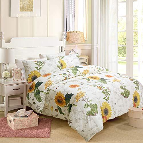 Softta Bettwäsche-Set mit Karomuster, quadratisch, Weiß/Schwarz Queen Size Sonnenblume