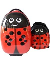 FERGÉ® 1x trolley enfant & 1x sac à dos LadyBird Valise pour enfants Valise bagage à main avec roulettes multicolour