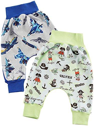 Klekle Baby Jungen Pump Baggy Mitwachs Stoff Hose 2er Set Flugzeug Blau Piraten grün 22776 Größe 92