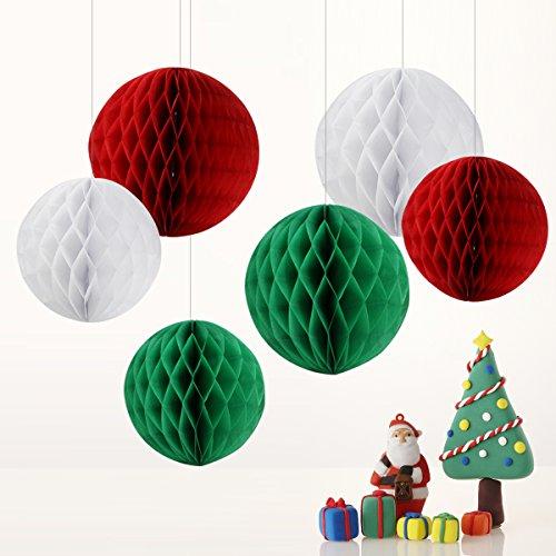 ll Wabenbälle Dekoration Deko für Hochzeit Party Baby Duschen Geburtstag Bankett Zimmer – Weiß Rot (Weihnachtlichesrot) Grün (Weihnachtlichesgrün) / 15cm&20cm (Rot Und Weiß-party Dekorationen)
