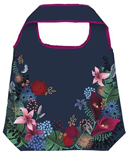 Flower Shopper (moses. Shopper Dark Flower | Faltbare Einkaufstasche | umweltfreundlich, wiederverwendbar)