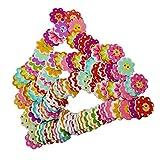 MagiDeal 100pcs Bunte 8 Blütenblatt Blumenform Holz Knopf