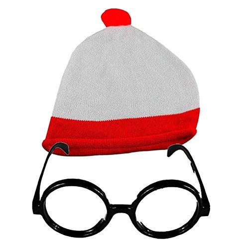 Où est Charlie Rouge/Blanc Unisexe Bonnet à pompon et lunettes Parti Thème sans objectif Lunettes