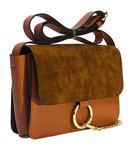 Kronya® | Elegante Umhängetasche aus Leder | Arbeit Büro Clutch Crossbody Damen Damentasche Damenhandtasche Frauen Freizeit Gurt Handtasche Rucksack Schule Schultasche Schultertasche Tasche (Braun)