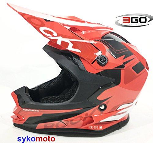 3GO xk188Rocky Niños Casco de motocicleta Motocross Niños y Niñas Quad ATV BMX Rojo Casco