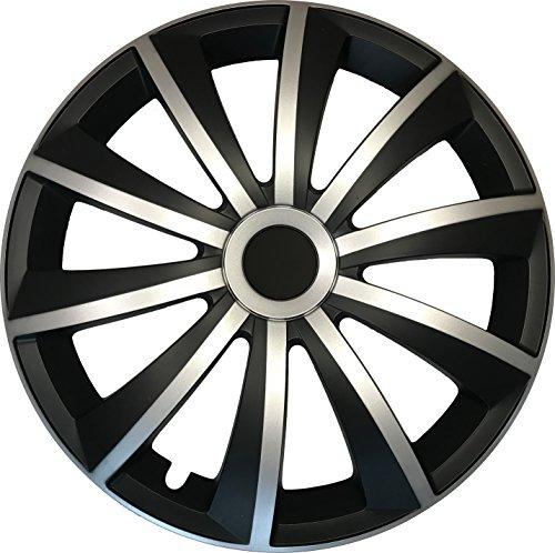 fiat grande punto radkappen GRAL Silber/Schwarz - 15 Zoll, passend für fast alle Fiat z.B. für Fiat Grande Punto EVO Typ 199