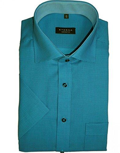 Herren Hemd Comfort Fit Kurzarm Blau