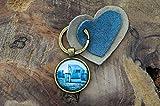 Schlüsselanhänger Cabochon und Filzanhänger Sylt Strandkorb maritim handmade