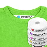 100 Etiquetas Personalizadas para ropa con Icono en Color a seleccionar. Tela Blanca. Mod. Formas