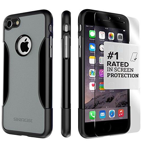 iPhone 8 and 7 Hülle, Schwarz SaharaCase Schutz Kit Paket mit [ gehärtetes Glas Bildschirmschutz] Robuster Schutz Anti-Rutsch-Griffigkeit Schlanke Passform Grau/Schwarz