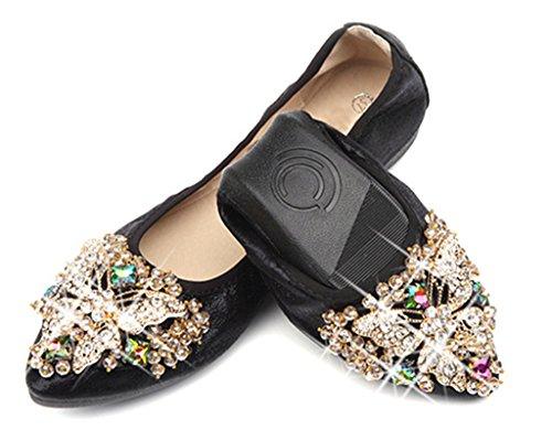 NEWZCERS Frauen weichen bequemen Rhinestone Schuhe Loafer Wohnungen Slip auf Schwarz