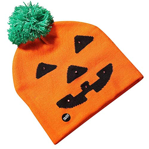 Halloween Shiny Knit Hat Kinder Erwachsenen Hut Party Supplies Kürbis Ghost Mit Light Cap Halloween Dekoration Hat Led ()