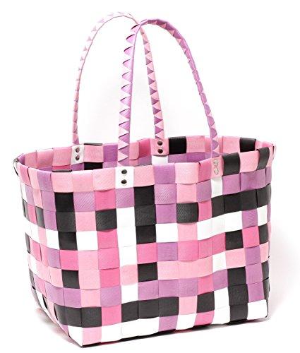 MULTICOLOUR Trend Tasche Korbtasche Flechttasche Strandtasche Strandkorb Flechtkorb Shopper Big Bag geflochten Kunststoff PINK & PURPLE
