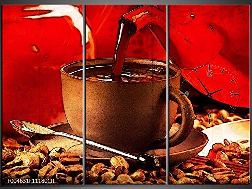 3 Tlg Leinwandbilder Wanduhr Kaffee Kaffeebohnen Schwarzer Kaffee Kaffeekanne Kaffee-gießen...