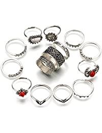 Oomph Jewellery Set Of 14 Antique Silver Bohemian Ring Set For Women & Girls Boho Chic Collection(RSN21R1)