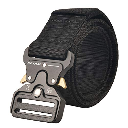 KEYNAT Tactical Belt Military Style Webbing Riggers Web Belt with Heavy Duty Quick Release Metal Buckle