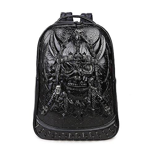 Bookbag Gold (antaina Gold 3D Viking Pirate Skull Rucksack PU Niet Personalisierte Coole Punk Schultasche Bookbag)