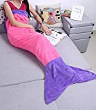XILIUHU Billig Flanell Mermaid Decke schlafen Wickeln Fernseher Sofa Decke Bettwäsche Plaids Tasche, Pink Violett
