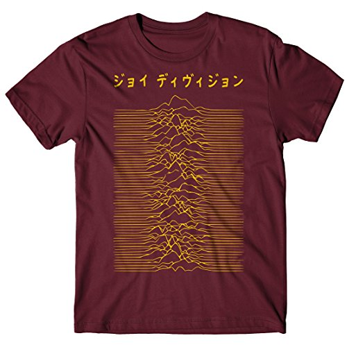 LaMAGLIERIA Camiseta Hombre Joy Division Japan Logo - Yellow Print - Camiseta 100% algodòn, L, Bordeaux