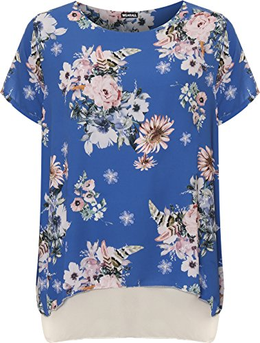 WEARALL Plus Damen Tauchen Saum T-Shirt Top Damen Blumen Druck Liniert Kurz Hülle Neu - 44-54 Königsblau