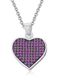 Silvernshine LADIES 10K WHITE GOLD FN PINK SAPPHIRE SIM DIAMOND LOVE HEART SHAPE PENDANT NECKLACE