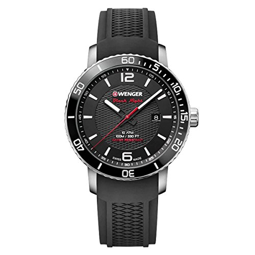 'Wenger 01.1841.102hombre Roadster negro noche negro Dial reloj